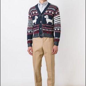 Thom Browne Intarsia dog knitwear cardigan sweater